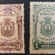 Sellos: IMPUESTO MUNICIPAL DE CARTAGENA (MURCIA). 1920-21. 2 VALORES. Lote 237868230