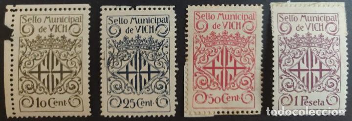 SELLO MUNICIPAL DEL AYUNTAMIENTO DE VICH (BARCELONA). AÑOS '10 A '30. 4 VALORES (Sellos - España - Alfonso XIII de 1.886 a 1.931 - Nuevos)