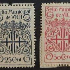 Sellos: SELLO MUNICIPAL DEL AYUNTAMIENTO DE VICH (BARCELONA). AÑOS '10 A '30. 4 VALORES. Lote 237868320