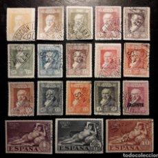 Timbres: ESPAÑA. EDIFIL 499/516. LA QUINTA GOYA. FRANCISCO DE GOYA. PINTURAS. SERIE COMPLETA USADA 1930.. Lote 240691080