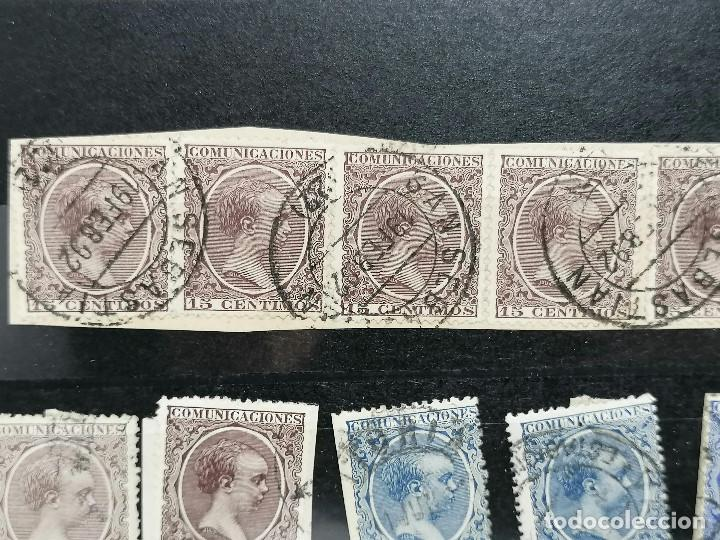 Sellos: España lote Sellos Alfonso XIII Edifil 215,217,219,221,224 Matasellos de Ciudades España - Foto 2 - 240945370