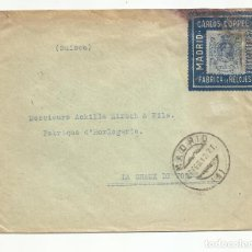 Francobolli: CIRCULADA FABRICA DE RELOJES 1912 DE MADRID A CHAUX DE FONDS SUIZA. Lote 242150360
