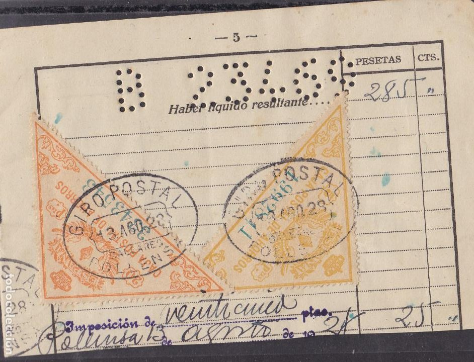HP9-1- FISCALES CAJA POSTAL 5 Y 20 PTAS FORMATO GRANDE USADOS SOBRE DOCUMENTO POLLENSA 1929 (Sellos - España - Alfonso XIII de 1.886 a 1.931 - Usados)