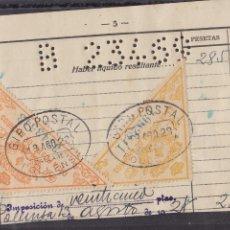 Timbres: HP9-1- FISCALES CAJA POSTAL 5 Y 20 PTAS FORMATO GRANDE USADOS SOBRE DOCUMENTO POLLENSA 1929. Lote 243120735