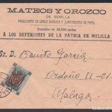 Francobolli: SOBRE MATEO Y OROZCO, MELILLA - MÁLAGA, SELLO DE FRANQUICIA MILITAR. Lote 243254680