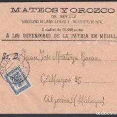 Francobolli: SOBRE MATEO Y OROZCO, MELILLA - MÁLAGA, SELLO DE FRANQUICIA MILITAR. Lote 243254925