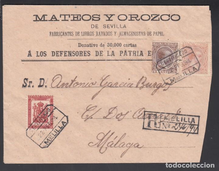 SOBRE CERTIFICADO MELILLA -MÁLAGA, SELLOS 10 CTS, 15 CTS ALFONSO XIII Y FRANQUICIA MILITAR. (Sellos - España - Alfonso XIII de 1.886 a 1.931 - Cartas)
