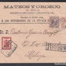 Sellos: SOBRE CERTIFICADO MELILLA -MÁLAGA, SELLOS 10 CTS, 15 CTS ALFONSO XIII Y FRANQUICIA MILITAR.. Lote 243258035