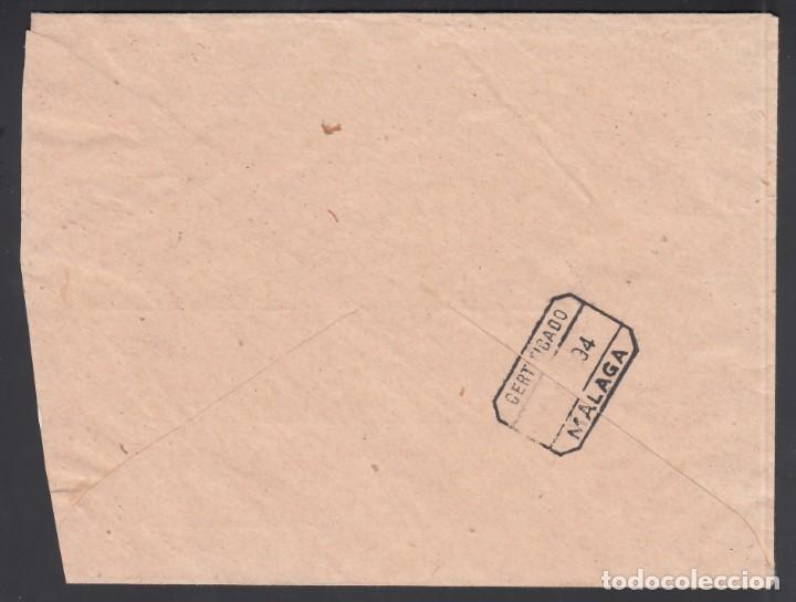 Sellos: Sobre Certificado Melilla -Málaga, sellos 10 cts, 15 cts Alfonso XIII y Franquicia Militar. - Foto 2 - 243258035