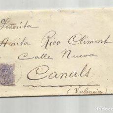 Sellos: CIRCULADA Y ESCRITA 1916 DE BARCELONA A CANALS VALENCIA CON FECHADOR AMBULANTE. Lote 244543265