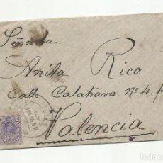 Sellos: CIRCULADA Y ESCRITA 1916 DE ESTACION BARCELONA A VALENCIA. Lote 244553030