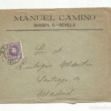 Sellos: CIRCULADA I ESCRITA MANDA HUEVOS Y GARBANZOS 1904 DE SEVILLA A MADRID. Lote 244562755