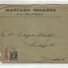 Sellos: CIRCULADA I ESCRITA 1899 DE LA BAÑEZA LEON A MADRID. Lote 244563115