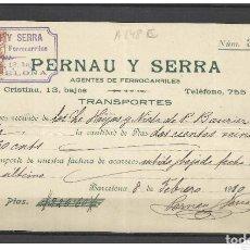 Sellos: A148C-SELLO FISCAL EN DOCUMENTO AÑO 1910 COMPLETO FISCALES BARCELONA FERROCARRIL RAIL WAY TRENES PER. Lote 244732355