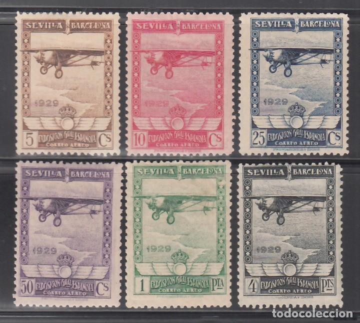 ESPAÑA, AÉREOS. 1929 EDIFIL Nº 448 / 453 /*/, PRO EXPOSICIÓN DE SEVILLA Y BARCELONA. (Sellos - España - Alfonso XIII de 1.886 a 1.931 - Nuevos)