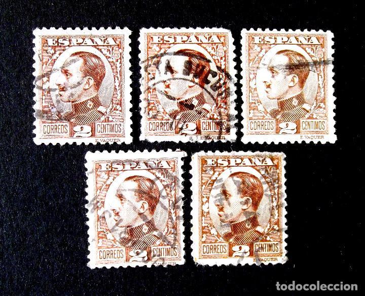 490, CINCO SELLOS USADOS, LOS DE LA FOTOGRAFÍA. ALFONSO XIII. (Sellos - España - Alfonso XIII de 1.886 a 1.931 - Usados)