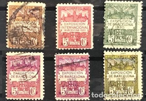 EDIFIL 1 2 3 4 5 Y 2 SELLOS USADOS AÑO 1929 EXPOSICION INTERNACIONAL DE BARCELONA (Sellos - España - Alfonso XIII de 1.886 a 1.931 - Usados)