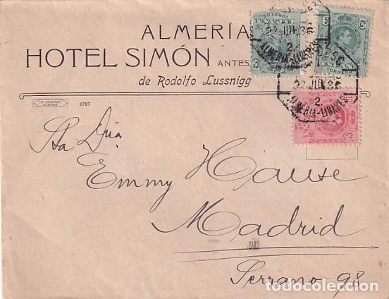 SOBRE ALMERÍA HOTEL SIMÓN DE RODOLFO LUSSNIGG. AMBULANTE ALMERÍA LINARES. (Sellos - España - Alfonso XIII de 1.886 a 1.931 - Usados)