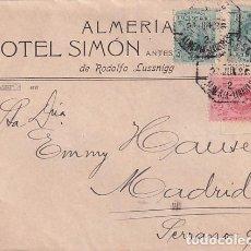Sellos: SOBRE ALMERÍA HOTEL SIMÓN DE RODOLFO LUSSNIGG. AMBULANTE ALMERÍA LINARES.. Lote 245951360