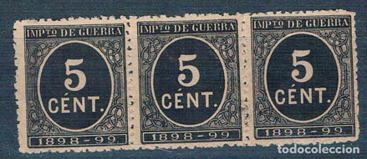 ESPAÑA 1898 IMPUESTO GUERRA EDIFIL 236 BLOQUE DE 3 SIN GOMA (Sellos - España - Alfonso XIII de 1.886 a 1.931 - Nuevos)