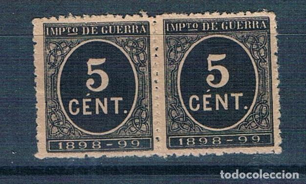 ESPAÑA 1898 IMPUESTO GUERRA EDIFIL 236 BLOQUE DE 2 SIN GOMA (Sellos - España - Alfonso XIII de 1.886 a 1.931 - Nuevos)