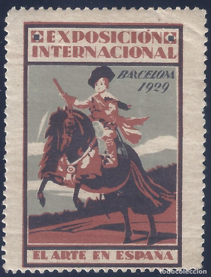 VIÑETA EXPOSICIÓN INTERNACIONAL. BARCELONA 1929. EL ARTE EN ESPAÑA. MNH ** (Sellos - España - Alfonso XIII de 1.886 a 1.931 - Nuevos)