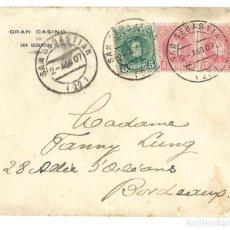 Sellos: 1907 CARTA SOBRE SAN SEBASTIÁN A BORDEAUX. ALFONSO XIII.. Lote 253712115