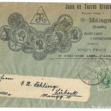 Sellos: 1917 CARTA SOBRE MÁLAGA A ALEMANIA. ALFONSO XIII. VINOS. TARIFAS IMPRESOS. Lote 253718445