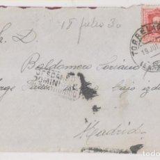 Sellos: SOBRE. TORRELAVEGA, CANTABRIA, A MADRID. 1930. DESCANSO DOMINICAL. Lote 253853165