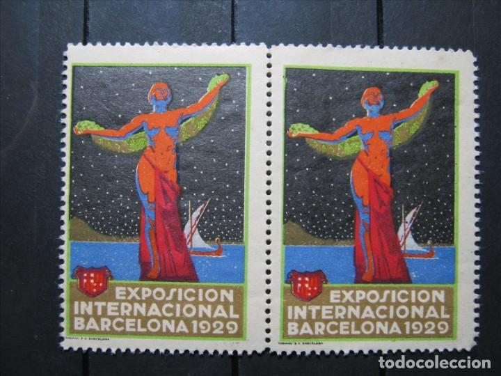 VIÑETA EXPOSICIÓN UNIVERSAL BARCELONA 1929 PAREJA EN NUEVO!!! (Sellos - España - Alfonso XIII de 1.886 a 1.931 - Nuevos)