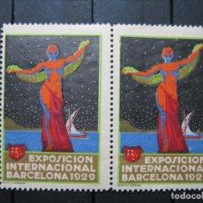 Sellos: VIÑETA EXPOSICIÓN UNIVERSAL BARCELONA 1929 PAREJA EN NUEVO!!!. Lote 253897645