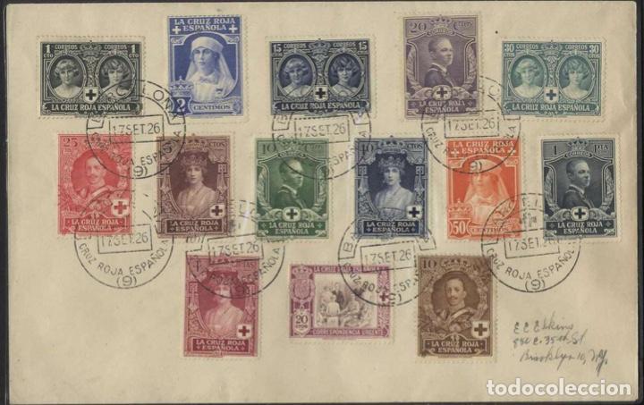 1926 CARTA PRO CRUZ ROJA ESPAÑOLA EDIFIL 325/38(º) DE BARCELONA A NEW YORK (Sellos - España - Alfonso XIII de 1.886 a 1.931 - Cartas)