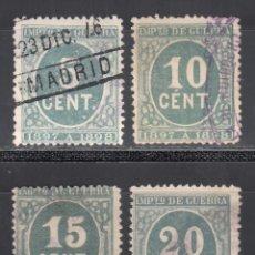 Sellos: ESPAÑA, 1897 EDIFIL Nº 232, 233, 234, 235, CIFRAS, SERIE COMPLETA, 4 VALORES. Lote 255513085