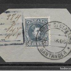 Sellos: CADETE EDIFIL 252 50 CENTIMOS. FECHADOR DE VALORES DECLARADOS DE SANTANDER 1906. Lote 255531785