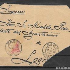 Sellos: CADETE EDIFIL 243 10 CENTIMOS BISECTADO. FRONTAL DE IMPRESO DE HARO A LOGROÑO 1902. Lote 255543535
