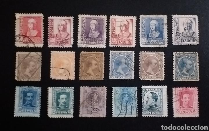 LOTE DE 18 SELLOS ANTIGUOS ESPAÑA (Sellos - España - Alfonso XIII de 1.886 a 1.931 - Usados)
