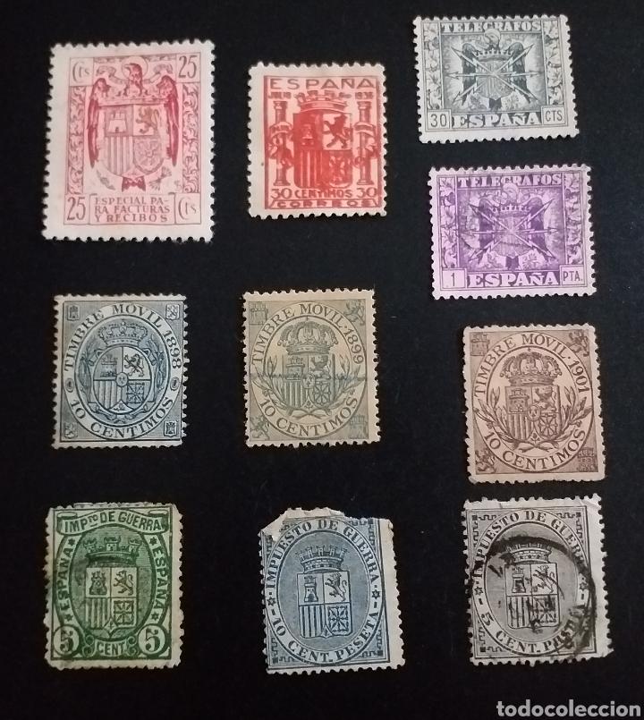 LOTE DE 10 SELLOS ANTIGUOS CON EL ESCUDO DE ESPAÑA (Sellos - España - Alfonso XIII de 1.886 a 1.931 - Usados)