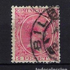 Sellos: 1889 ESPAÑA ALFONSO XIII 4 PESETAS 'TIPO PELÓN' EDIFIL 227 - USADO - FECHADOR BILBAO - CENTRADO. Lote 257999525