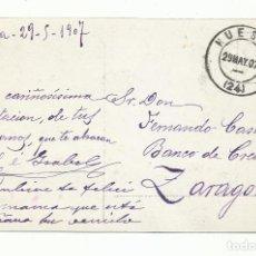 Sellos: POSTAL MADONNA CIRCULADA 1907 SIN SELLO DE HUESCA A ZARAGOZA. Lote 259827895