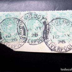 Selos: 1909, ALFONSO XIII, EDIFIL 275, 3 EJEMPLARES CON MATASELLOS PAQUEBOT LIVERPOOL. Lote 260091755