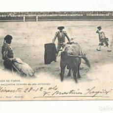 Sellos: TARJETA POSTAL ESTOCADA DE MAZZANTINI CIRCULADA 1905 DE ALICANTE A ANVERS BELGICA. Lote 260317305