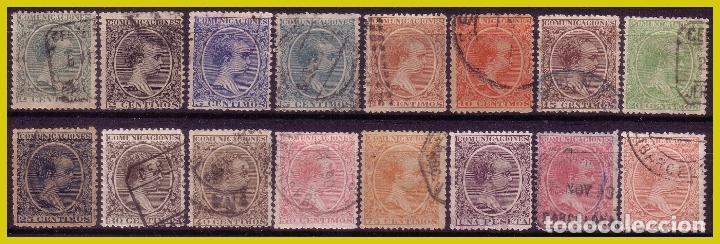 1889 ALFONSO XIII, TIPO PELÓN, EDIFIL Nº 213 A 228 (O) (Sellos - España - Alfonso XIII de 1.886 a 1.931 - Usados)