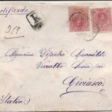 Sellos: ESPAÑA.AÑO 1911.CARTA CIRCULADA./MADRID - MILAN - CIVIASCO (ITALIA).. Lote 261228010