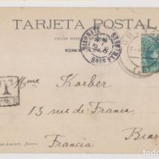Sellos: POSTAL. GRANADA A FRANCIA. 1905. TASADA. Lote 261986995