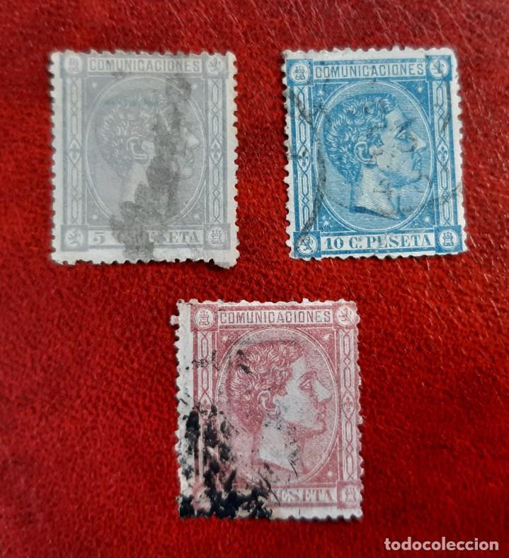 ESPAÑA 1875. EDIFIL 163,4 Y 6, CIRCULADOS. (Sellos - España - Alfonso XIII de 1.886 a 1.931 - Usados)