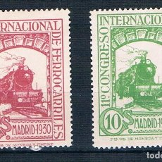 Sellos: ESPAÑA 1930 COMGRESO INTERNACIONAL FERROCARRILES EDIFIL 471*/472*. Lote 262012490