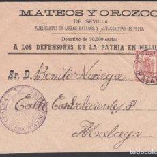 Sellos: SOBRE, MELILLA A MÁLAGA, CON FRANQUICIA MILITAR, MARCA, BATALLÓN DE CAZADORES DE CATALUÑA.. Lote 262218355