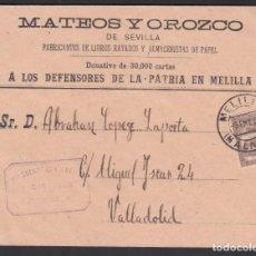 Sellos: SOBRE, MELILLA A VALLADOLID, CON FRANQUICIA MILITAR, MARCA, 1.ER CUERPO DE EJÉRCITO. 1ª DIVISIÓN,. Lote 262219905