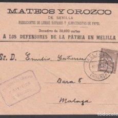 Sellos: SOBRE, MELILLA A MÁLAGA, CON FRANQUICIA MILITAR, MARCA, 1.ER CUERPO DE EJÉRCITO. 1ª DIVISIÓN,. Lote 262220360