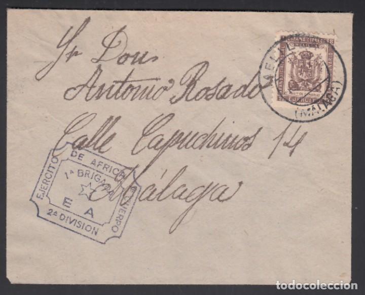 SOBRE, MELILLA A MÁLAGA, CON FRANQUICIA MILITAR, MARCA, EJÉRCITO DE AFRICA. 1.ER CUERPO 1ª BRIGADA. (Sellos - España - Alfonso XIII de 1.886 a 1.931 - Cartas)
